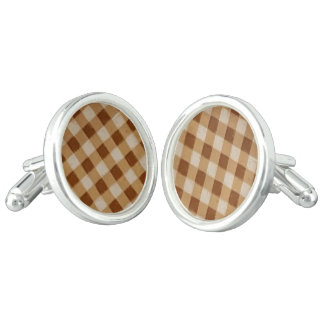 Retro Gingham Brown Cuff Links