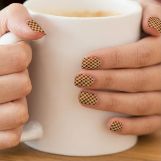 Retro Gingham Brown Nails Sticker