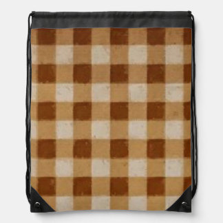 Retro Gingham Brown Drawstring Backpack