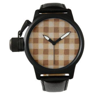 Retro Gingham Brown Watch