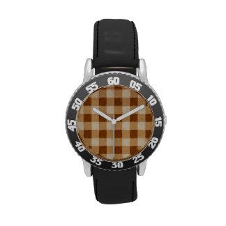 Retro Gingham Brown Wristwatch