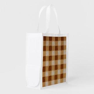 Retro Gingham Brown Grocery Bag