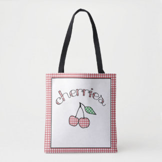 Retro Gingham Cherries Reusable Grocery Bag