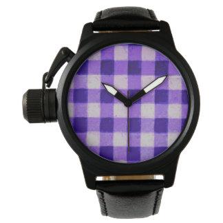 Retro Gingham Lavender Purple Wrist Watch