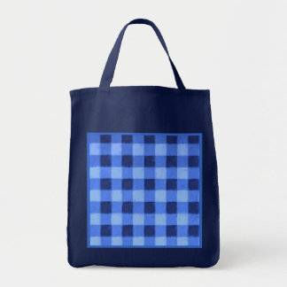 Retro Gingham Reusable Navy Blue Canvas Bag