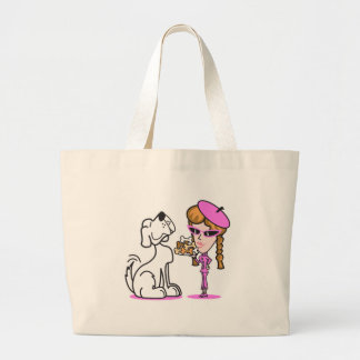 retro girl and pet dog large tote bag