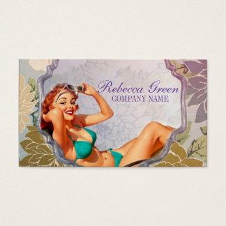 retro girl beauty makeup artist tanning salon business card
