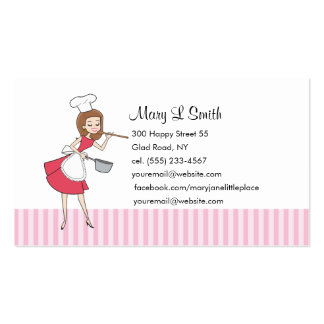 Retro Girl Chef Personal Calling Card - Customized Pack Of Standard Business Cards
