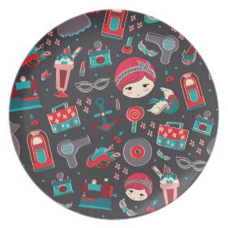 Retro Girl Dinner Plate