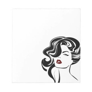Retro girl red lips notepad
