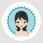Retro Girl Round Sticker