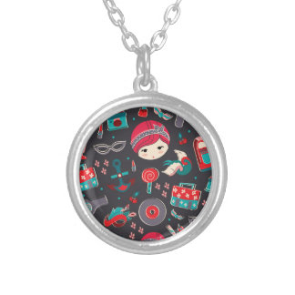 Retro Girl Silver Plated Necklace