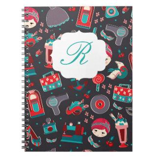 Retro Girl Spiral Note Book