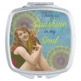 "Retro Girl ""Sunshine in my Soul"" Mirror Compact Makeup Mirror"
