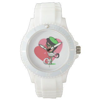 Retro Girl White Cat and Two Hearts Wristwatch