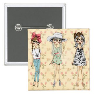 Retro Girly Fashion Dolls Buttons