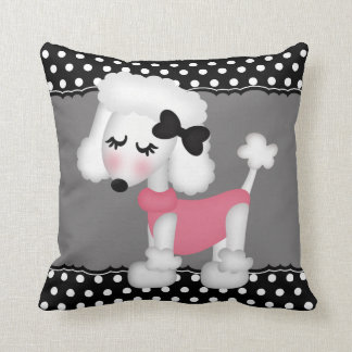 Retro Girly Paris Poodle Dog Cushion
