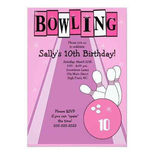 Retro Girly Pink Birthday Bowling Party Invite 13 Cm X 18 Cm Invitation Card