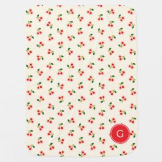 Retro girly red cherry patterns monogram baby blanket