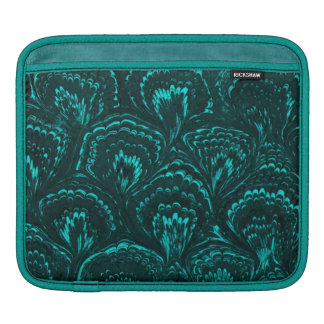 Retro Girly Vintage Swirls Teal Peacock Turquoise Sleeves For iPads