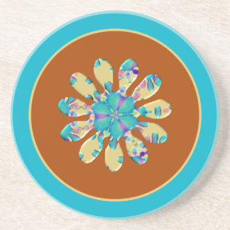Retro Glam Daisy Flower Turquoise Opalescent Glow Drink Coasters