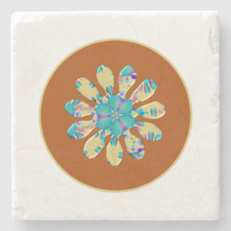 Retro Glam Daisy Flower Turquoise Opalescent Glow Stone Beverage Coaster