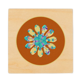 Retro Glam Daisy Flower Turquoise Opalescent Glow Wood Coaster