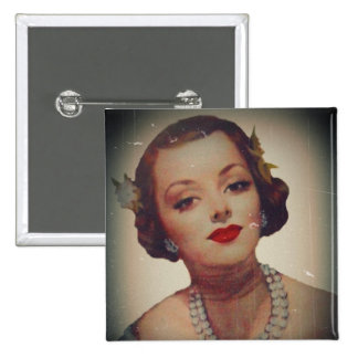 Retro Glam Girl Lipstick 15 Cm Square Badge