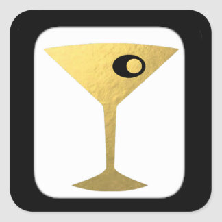Retro Glamorous Gold Martini Stickers