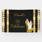 Retro Glamour Hollywood Fabulous 50 Gold Deco Heel Banner