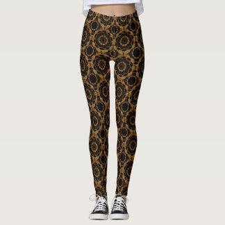 Retro Gold and Black Mandala Pattern Leggings