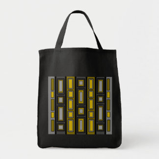 Retro gold and silver rectangle pattern grocery tote bag