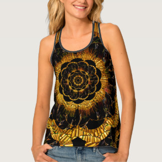 Retro Gold Black Mandala Mod Flower Collage Tank Top