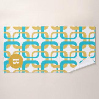 Retro Gold & Turquoise Pattern Monogram Bath Towel Set