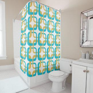 Retro Gold & Turquoise Pattern Monogram Shower Curtain