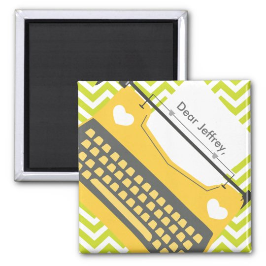 Retro Gold Typewriter on Green Chevron Magnet
