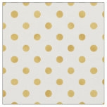 Retro golden yellow and white polka dots pattern fabric