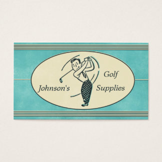 Retro Golf Supplies Blue Business Card