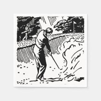 Retro Golfer Sand Trap Disposable Serviette