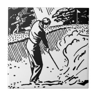 Retro Golfer Sand Trap Tile