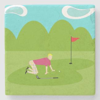 Retro Golfer Stone Coaster