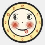 Retro Goofy Clock Face Round Stickers