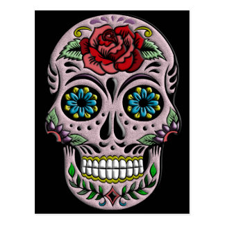 Retro Goth Sugar Skull Postcard