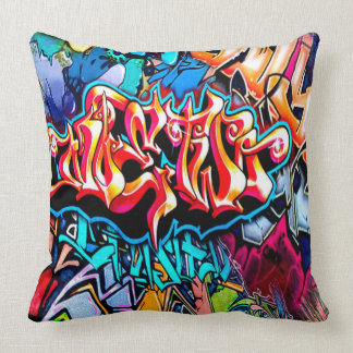 Retro Graffiti word art ome dcor pillow