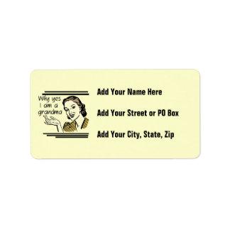 Retro Grandma T-shirts and Gifts Address Label