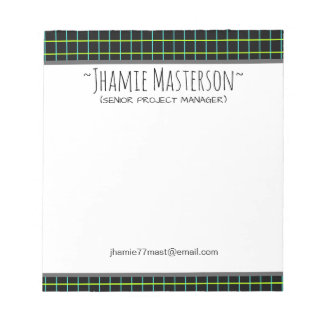 Retro Graphed Black Personalized Notepad