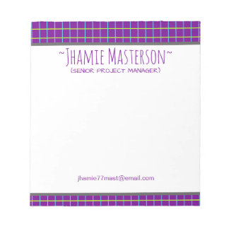 Retro Graphed Purple Personalized Notepad