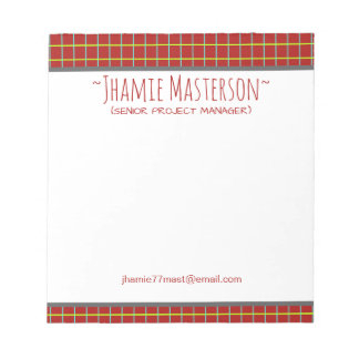 Retro Graphed Red Personalized Notepad