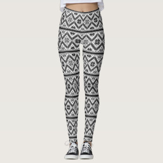 Retro Graphic Design Black&White Pattern Leggings