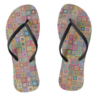 Retro Graphic Design Pattern Flip Flops